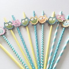 Owl straws, owl cupcake toppers , paper straws