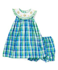 Blue & Green Plaid Turtle Smocked Dress & Bloomers - Infant