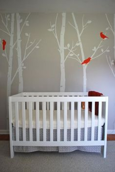 Sweet boy's nursery design with gray wall paint colour, Etsy Decal -Tree Wall Decal Wall Sticker - Birds in the Urban Forest. Use white, yellow or blue brads instead.