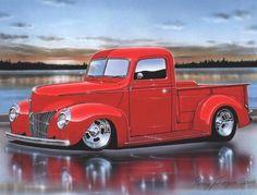1940 Ford Pickup Streetrod Truck Art Print 11x14 – Parry Johnson Hot Rod Art Prints