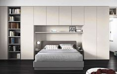 armadio a ponte con libreria Wardrobe Bed, Wardrobe Design Bedroom, Bedroom Bed Design, Modern Bedroom Design, Fitted Bedroom Furniture, Fitted Bedrooms, Bed Furniture, Bookshelves In Living Room, Shelves In Bedroom