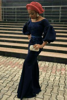 The sleeves. African Wedding Attire, African Attire, African Wear, African Lace Styles, African Lace Dresses, Latest African Fashion Dresses, African Print Fashion, Lace Dress Styles, Aso Ebi Lace Styles