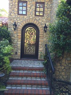 """Antique sandstone cobble sawn at 1.5"""", installed over concrete base for stair treads and landing. Beautiful!"""