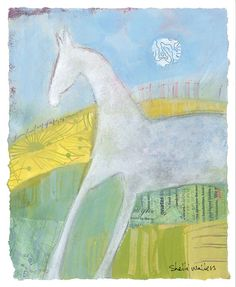 Abstract Pony No10 8x10 original mixed media painting on paper Painting comes mounted to white matt board — ready to frame, is varnished for