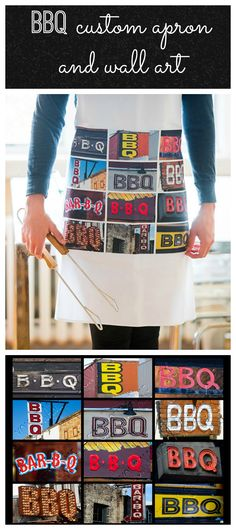 Custom apron and poster featuring BBQ in sign photos. Makes the perfect gift for guys who love to barbecue, and for Dad on Father's Day!