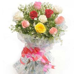 A Nice bunch of 10 Long stem mix colour roses in cellophane packing with red and pink colour ribbon bow and lot of fillers. http://fbn-flower.blogspot.in/2015/09/colorful-hue.html