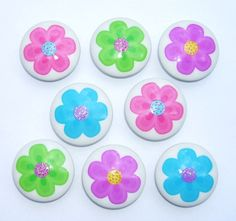 8 Pastel Flower Power glitter center    Dresser Drawer Knob. $22.00, via Etsy.