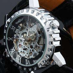 Black Watch,Mechanical Watch,Watch,Men's Leather Watch,Wrist Watch,Man Watch,Steampunk Mechanical Watch, Leather Wrist Watch on Etsy, $29.99