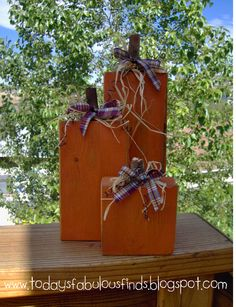 #fall #crafts #pumpkins- super easy diy, cut wood from home depot- 2x6 & braches cut down for the stems!