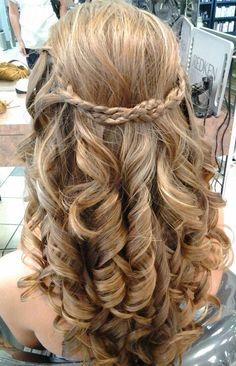 Prom hair - curls and braid