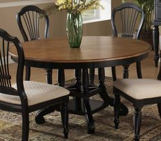 Hillsdale Furniture Wilshire Round Dining Table in Rubbed Black Black Round Dining Table, Pedestal Dining Table, Extendable Dining Table, Dining Table In Kitchen, Dining Table Chairs, Dining Room Furniture, Oval Table, Side Chairs, Wood Furniture