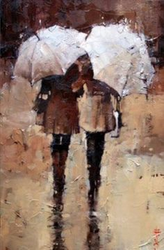 """Shopping, Rain or Shine"" painting by Andre Kohn."