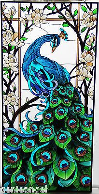 Magnífico * Pavo Real 17x37 Vitral Panel
