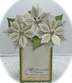 handmade Christmas card from Crafting with Class: Potted Poinsettias ... inside that pulls out of the pot ... like it with red or white poinsettias ... beautiful ...