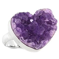 Heart Amethyst Druzy 925 Sterling Silver Ring Jewelry s.8.5 HADR14