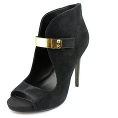 Fergie Fergie Remix Women Open-Toe Suede Black Heels ($23) ❤ liked on Polyvore featuring shoes, pumps, black, high heeled footwear, black open toe pumps, black pumps, high heel dress shoes and black high heel shoes
