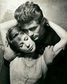 "James Dean and Julie Harris in a publicity photo for ""East of Eden"""