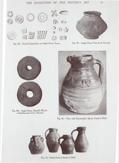 Tooled impression on Anglo-Saxon vases; Anglo-Saxon spindle whorls of earthenware from Sancton; Vase with zoomorphic spout, found at Hull; - Early pottery found at Hull. Ceramic Clay, Ceramic Pottery, History Of Ceramics, Anglo Saxon, Dark Ages, New York Public Library, Earthenware, Prehistoric, Archaeology