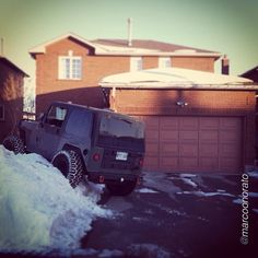 "Cabin fever has set in ! by @marcoonorato ""Knock knock #jeep #jeepguy #jeepbeef #jeepparking #flex #snow #whynot #winter #canada #snowpatrol #projectwarhog #surprise"" #Padgram"