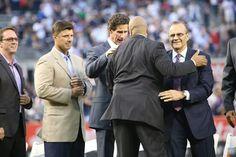 2aeb27f333d47 Bernie Williams honored at Yankee Stadium. Left to right David Cohn