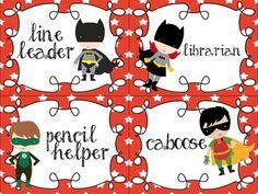 Superhero Classroom Jobs Chart and Application