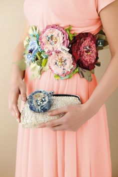 Fabric flowers turned into a gorgeous sash and purse accessory