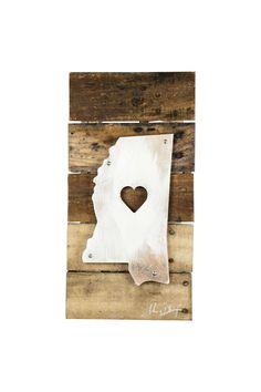 Mississippi Heart Reclaimed Wood & Shaped Metal Art