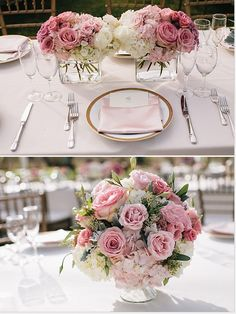 Love the ombré of light to medium pink in the top photo--shows how we might pull in other tones of soft pink at the reception.  The bottom photo shows lizianthus buds coming out of the bouquet of roses, hydrangea, dusty miller, & eucalyptus