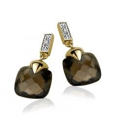 Zinzi Gold 14 karaat gouden oorstekers diamant bruin ZGO71