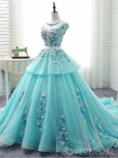 Scoop Cap Sleeves Tiffany Blue Lace Long Evening Prom Dresses, Cheap C – LoverBridal Cute Blue Dresses, Floral Prom Dresses, Quince Dresses, Sweet 16 Dresses, Cheap Prom Dresses, Ball Dresses, Pretty Dresses, Ball Gowns, Beautiful Dresses
