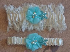 Beach Wedding Garter with Aqua Starfish, Ivory Venice Lace Bridal Garter Set, Destination Wedding Garter, Something Blue, Wedding Garder by bridalambrosia on Etsy