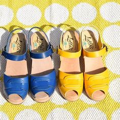Who's watching Eurovison? Come on Sweden!  peep toe clogs in ocean blue and summer yellow  #lovemylottas