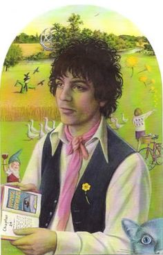 """onelumpthanks: Portrait of Syd Barrett by Paul F. Workman The composition was inspired by this painting: """"Portrait of a Young Man"""" by the Master of the View of St. Gudule"""