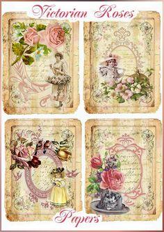 Vintage Victorian Roses Set of 8 Papers Mini por SenecaPondCrafts, $2.50