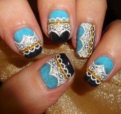 Sparkly Nails - Vintage White Lace Nail Stickers - bellashoot.com