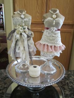 My Artistic Side: Mini dress forms dressed for the party!