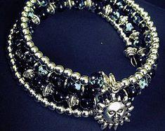 Bracelet THREE femme, noir, gris, argent, soleil, cadeau, offrir, maman, perle, fait avec amour, très beau