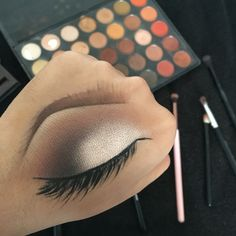 _selenebean on Instagram. Makeup on back of hand by Selene Garcia. Feathered brows & smokey neutral eye using Morphe 35O palette
