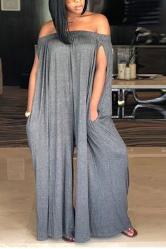 Get an instant style update this season with this casual jumpsuit. This is a plain, split sleeve, off shoulder, all-in-one jumpsuit. This regular jumpsuit is made from polyester Long Jumpsuits, Jumpsuits For Women, Playsuits, Grey One Piece, Casual Jumpsuit, Jumper Outfit Jumpsuits, Jumpsuit With Sleeves, Grey Fashion, Plus Size Clothing