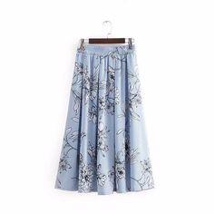 6b61664794 2018 New Women Vintage floral printing striped a line midi skirt ladie –  liilgal