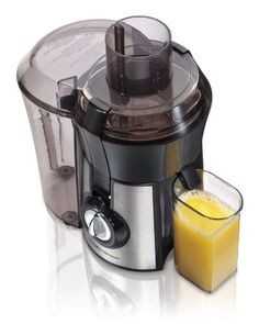 Amazon.com: Hamilton Beach 67608 Big Mouth Juice Extractor, Stainless Steel: Kitchen & Dining - want big mouth - $52 -  For easy cleanup, place a plastic grocery bag in the pulp bin container to collect the pulp and once juicing is complete, simply discard.  When you're done juicing, pass the strainer basket under running water and brush off excess fiber buildup or pulp with included cleaning brush.  Did not get stainless one.