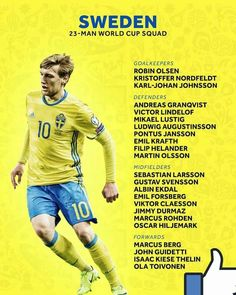 SWEDEN 2018 world cup provision squad World Cup 2018, Fifa World Cup, Fifa 20, Football Art, Sweden, Finals, Sports, Squad, Russia