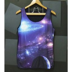 Blue violet star ring galaxy,universe,space Men Women Tank top size M... ($14) ❤ liked on Polyvore featuring tops, shirts, t-shirts, tanks, sleeveless tank, sleeveless tank top, sleeveless tops, check pattern shirt and sleeveless shirts
