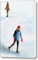 Two Girls Ice Skating Watercolor Painting Canvas Print / Canvas Art - Artist Beverly Brown Prints