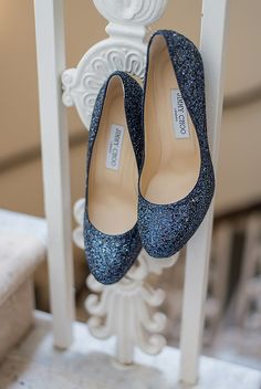 blue glitter Jimmy Choos - Wedding shoes from real weddings in 2017