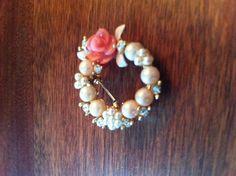 Elegant Costume Rose and Pearl Wreath Pendant by SantaCruzSeraph