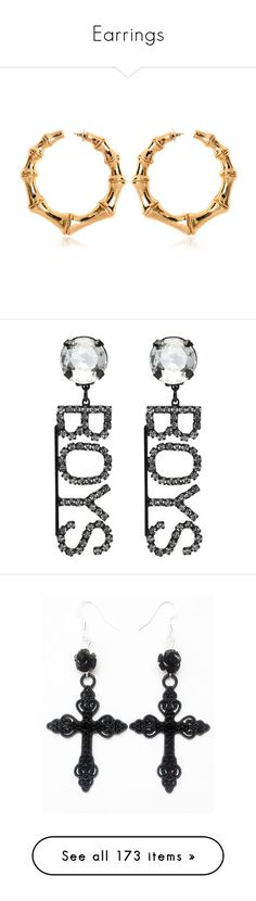 """""""Earrings"""" by styledbyry ❤ liked on Polyvore featuring jewelry, earrings, accessories, balmain, gold, balmain jewelry, gold earrings, gold jewelry, gold jewellery and black"""