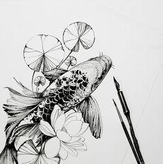 Tattoos And Body Art koi tattoo Koi Fish Drawing, Koi Fish Tattoo, Fish Drawings, Art Drawings, Flower Drawings, Drawing Flowers, Carp Tattoo, Lotus Tattoo, Art Flowers