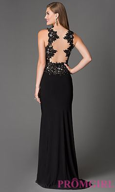 Illusion Lace Floor Length Xcite Prom Dress at PromGirl.com