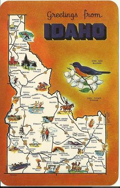 Vintage Postcard Greetings Idaho   Map  by postcardsintheattic, $6.95